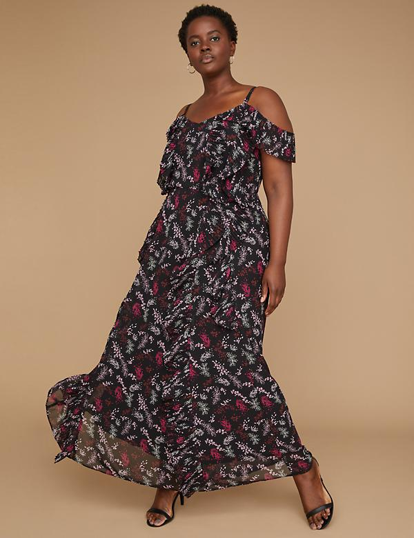 Cold-Shoulder Pleated Ruffle Maxi Dress