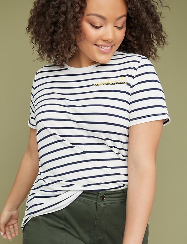 Weekend Striped Graphic Tee