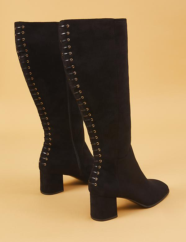 Corset-Back Block Heel Boot
