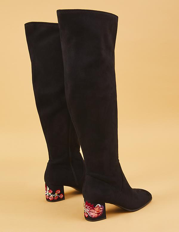 Over-the-Knee Boot with Embroidered Block Heel