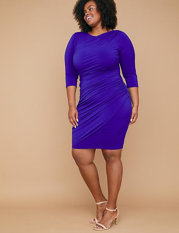 Fast Lane Built-In Smoothing Slip Draped-Front Sheath Dress