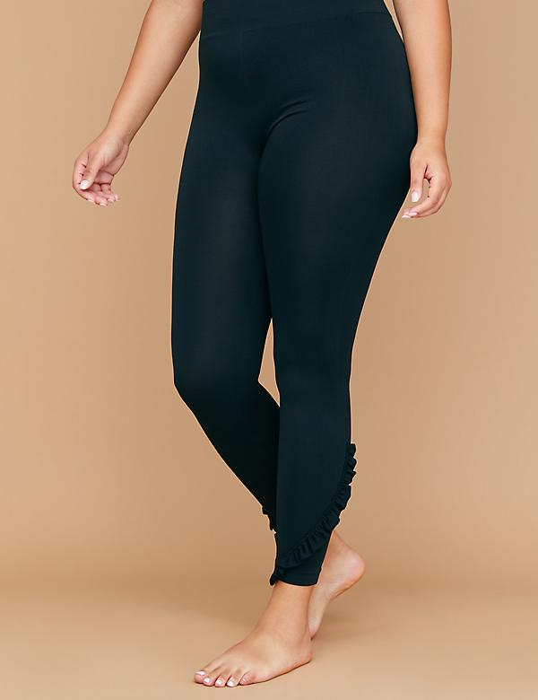 Seamless High Waist Leggings - Side Ruffle