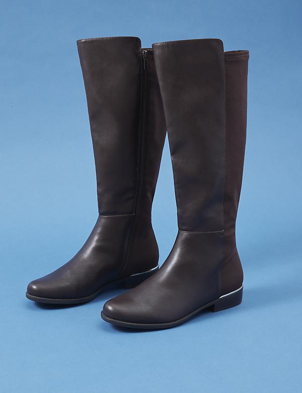 Faux Leather Tall Boot with Metal Rand