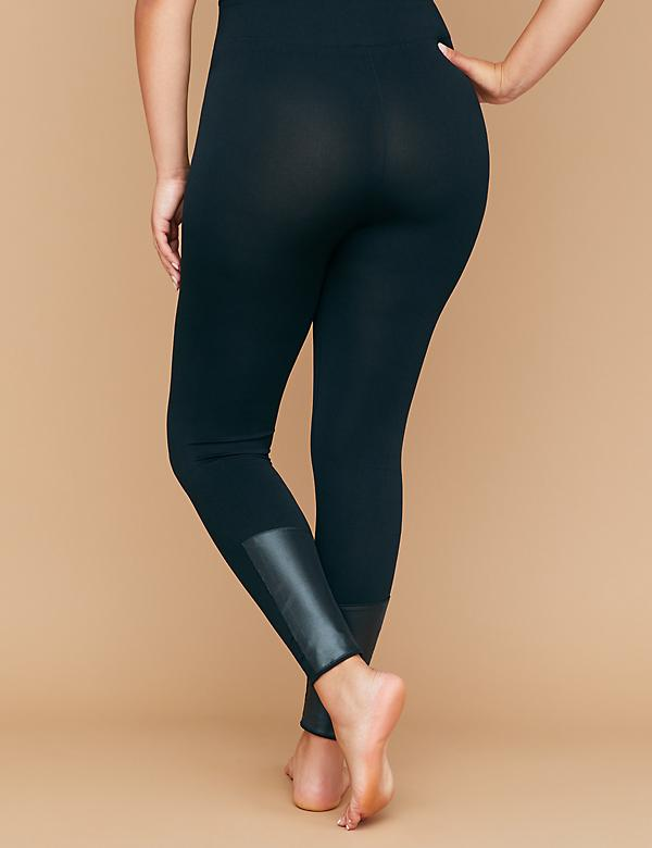 Seamless High Waist Leggings - Faux Leather Moto