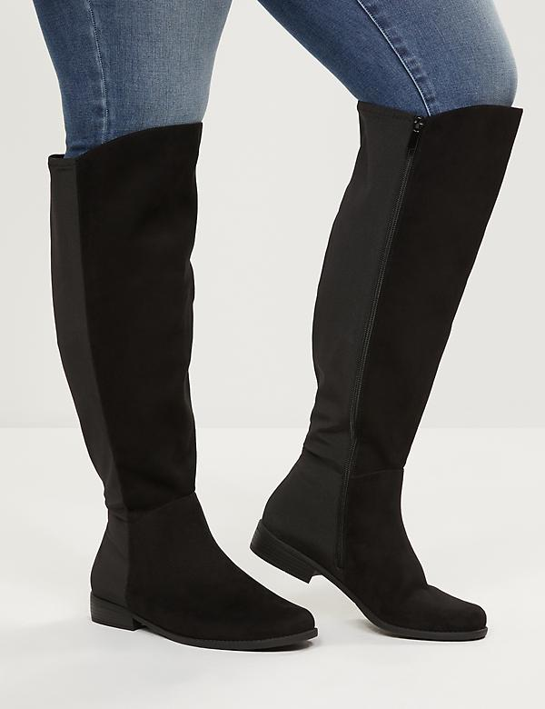 Over-The-Knee Faux-Suede Flat Boot  - Extra Wide Calf