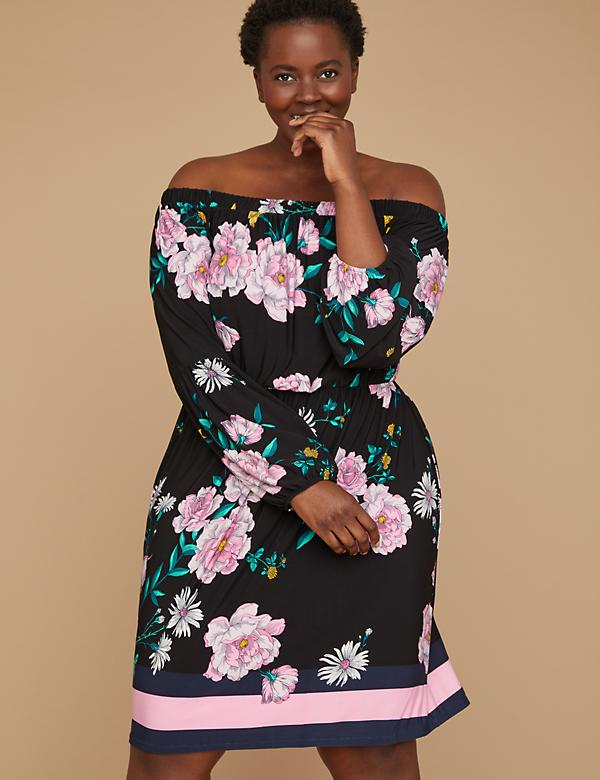 Printed Off-the-Shoulder Fit & Flare Dress