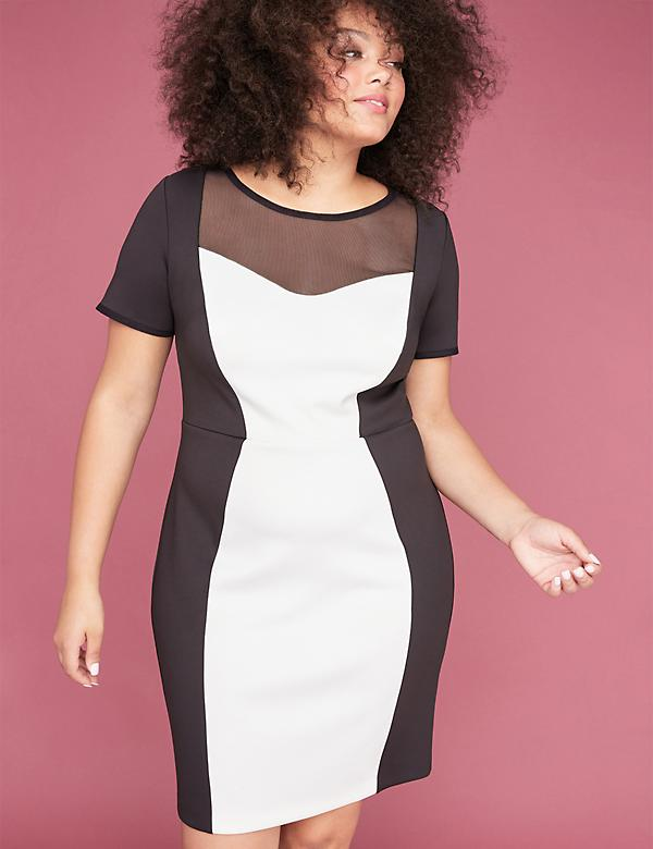 Colorblock Scuba Sheath Dress with Mesh Yoke