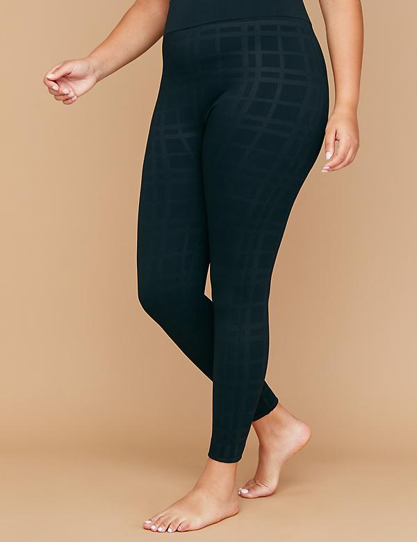 Seamless High Waist Leggings - Fleece Plaid