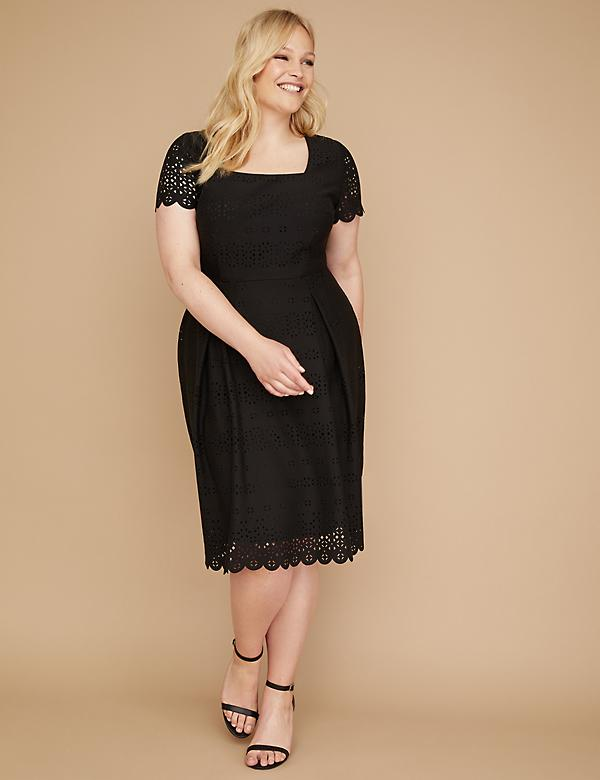Perforated Ponte Fit & Flare Dress