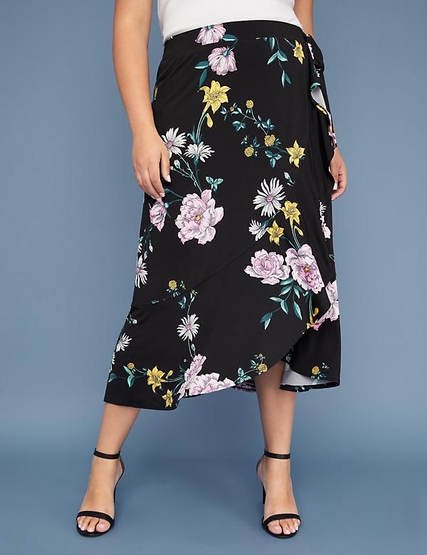 Floral Printed Faux Wrap Skirt