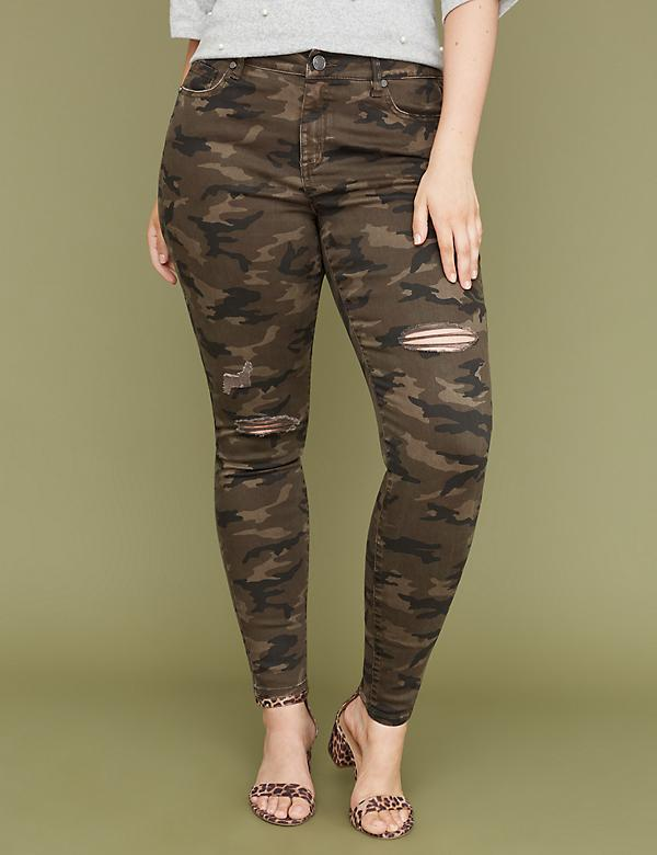 Super Stretch Skinny Jean - Destructed Camo