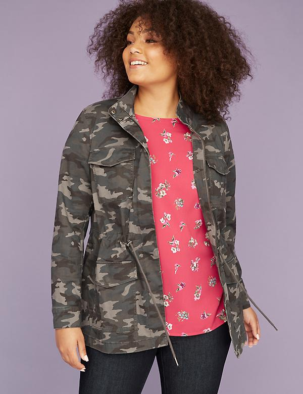 Gray Camo Print Twill Jacket