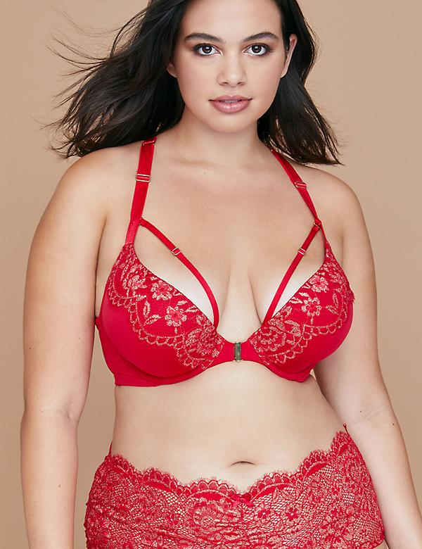 Metallic Lace Front-Close Boost Plunge Bra