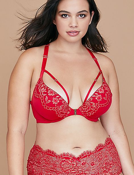 588e900fee Metallic Lace Front-Close Boost Plunge Bra