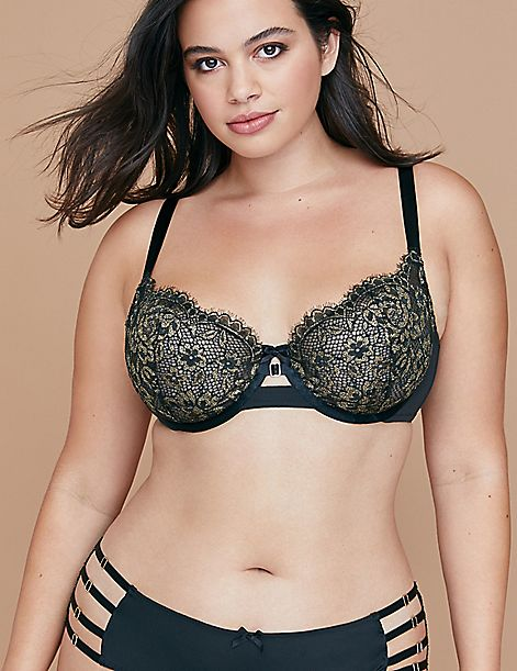 Metallic Lace Unlined Balconette Bra