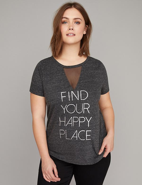 Find Your Happy Place Graphic Mesh Choker Neck Tee
