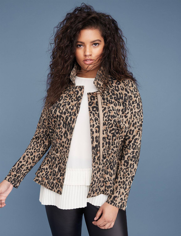 Petite Leopard Print Sateen Peplum Jacket