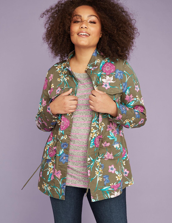 Floral Print Twill Jacket