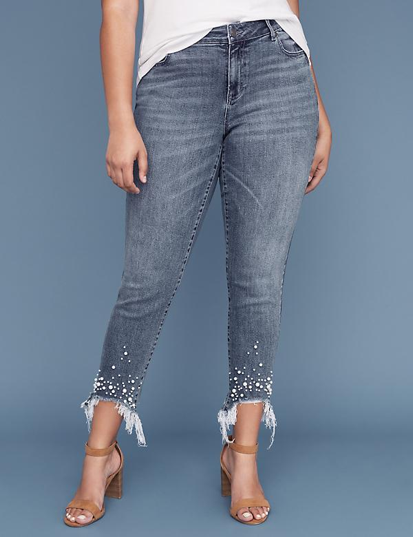 Essential Stretch Girlfriend Ankle Jean - Destroyed Faux Pearl Hem