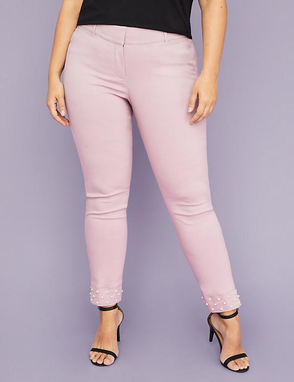 Power Pockets Allie Sexy Stretch Ankle Pant - Pearl Hem