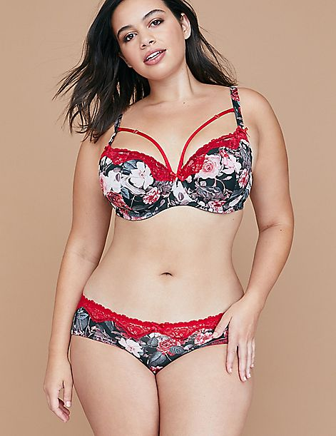 Bloom Print Hipster Panty with Lace