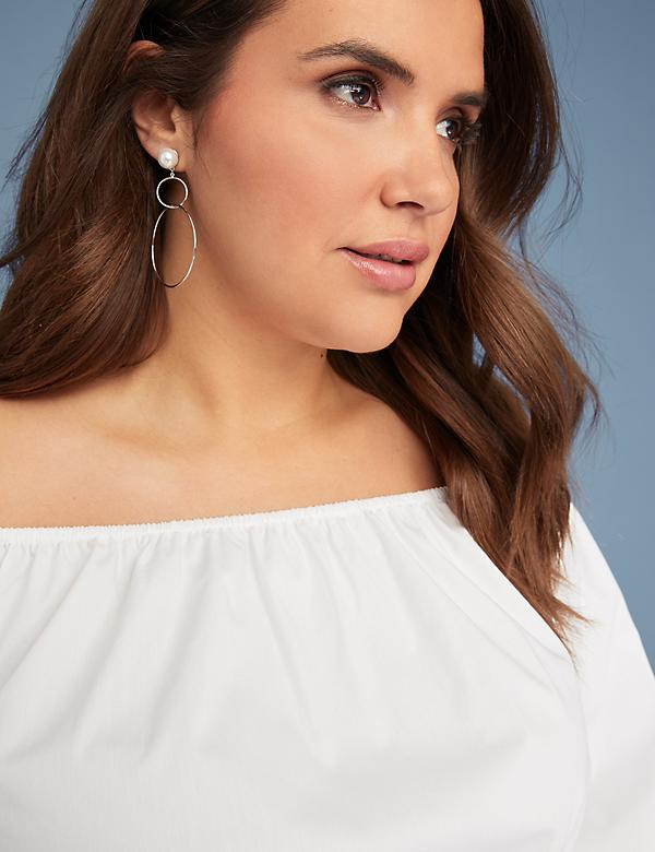 Interlocking Hoop Earrings with Faux Pearl Stud