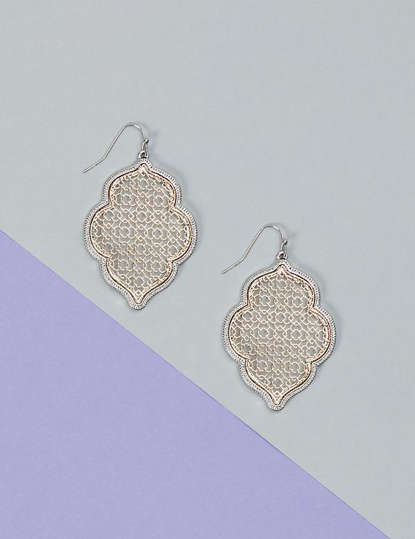 Two-Tone Filigree Drop Earrings