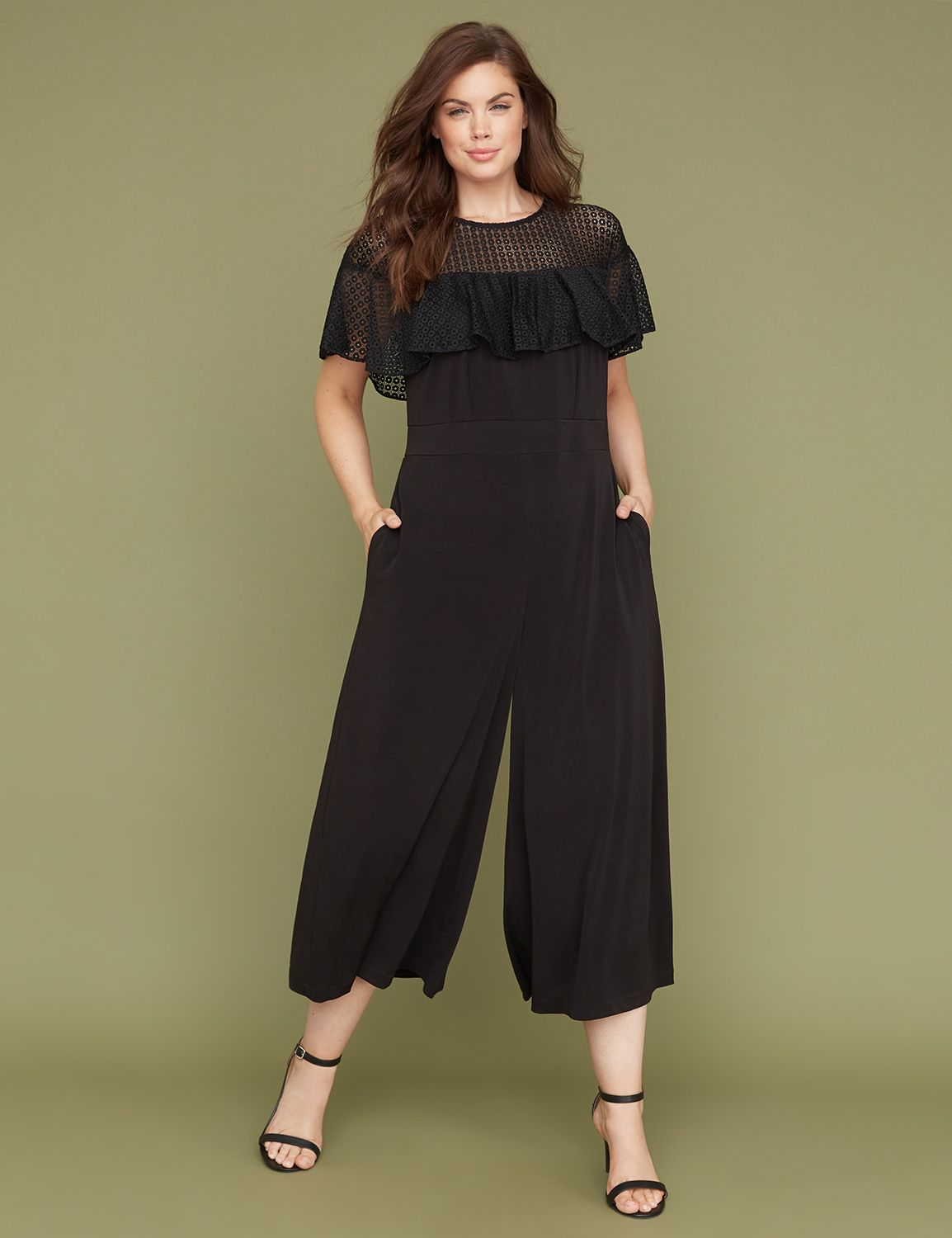 Vintage High Waisted Trousers, Sailor Pants, Jeans Lane Bryant Womens Eyelet Lace  Ruffle Jumpsuit 24P Pitch Black $89.95 AT vintagedancer.com