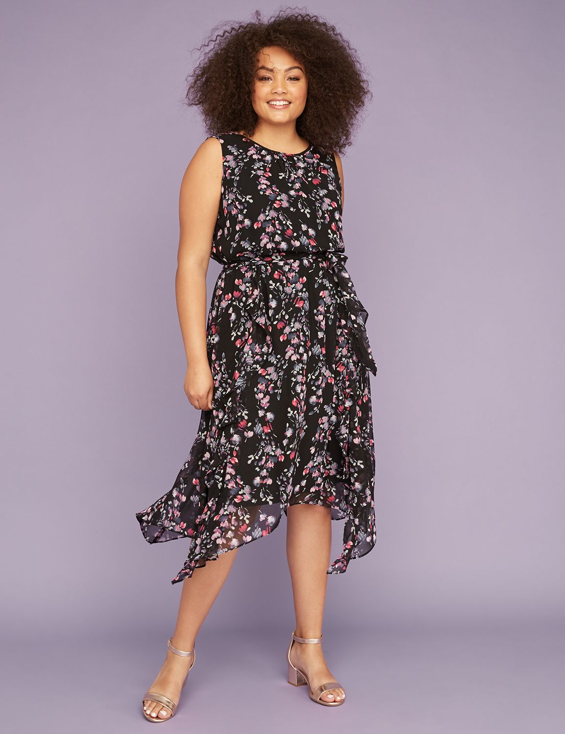 Petite Printed Chiffon Sharkbite Midi Dress