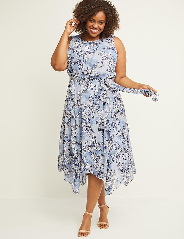 Printed Chiffon Sharkbite Midi Dress