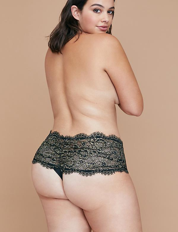 Metallic Lace Wide-Side Thong Panty with Split Gusset
