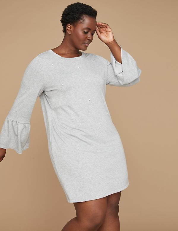 Faux Pearl Sweatshirt Dress