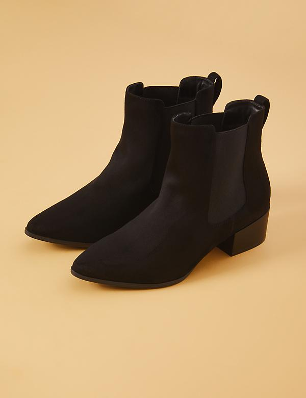 Faux Suede Side Gore Ankle Boot