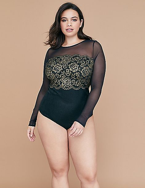 Metallic Lace No-Wire Bodysuit