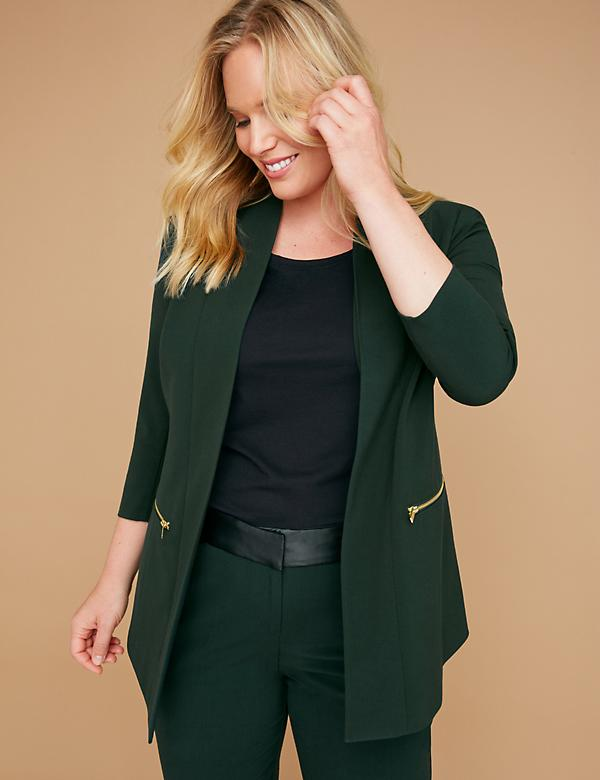 Zip Pockets Tailored Stretch Jacket - Green