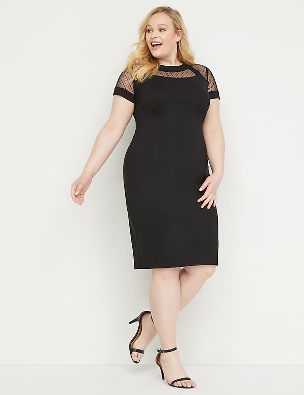 Mesh-Yoke Ponte Sheath Dress