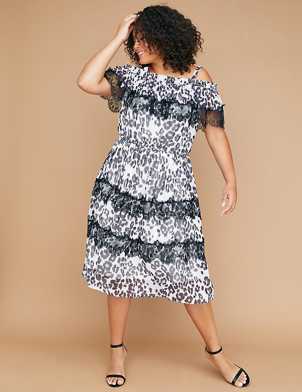 Fast Lane Leopard Chiffon Off-the-Shoulder Dress