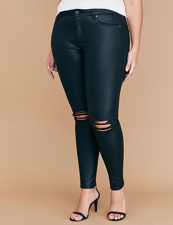 Super Stretch Skinny Jean - Coated & Destructed