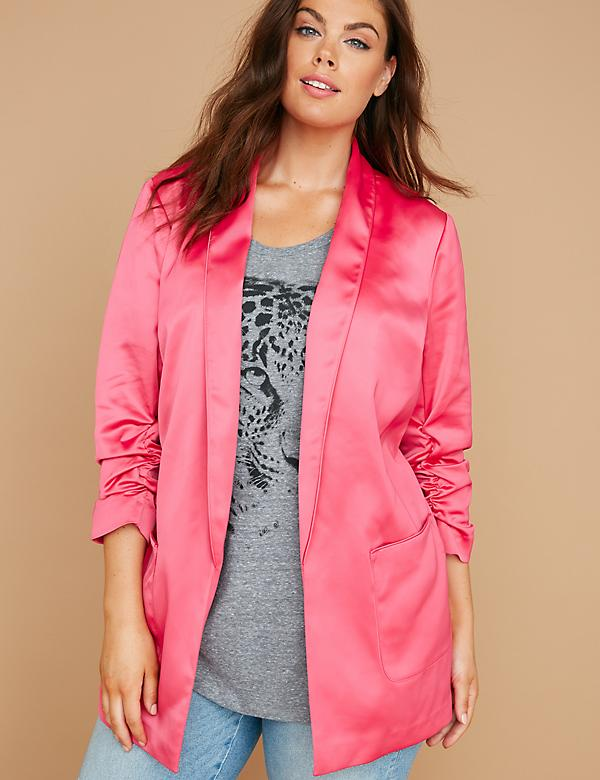 Fast Lane Ruched-Sleeve Long Satin Blazer