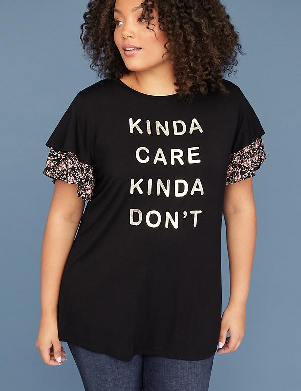 Kinda Care Kinda Don't Graphic Layered Flutter Sleeve Tee