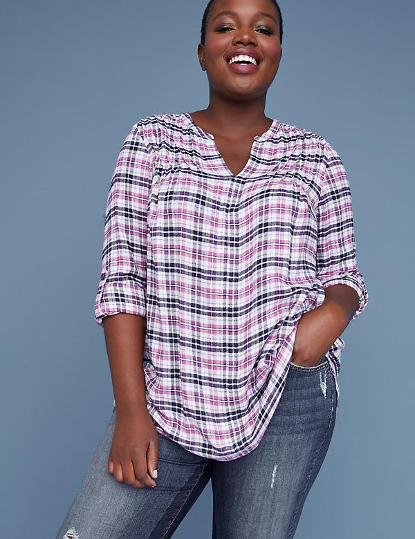Pintuck Plaid Popover