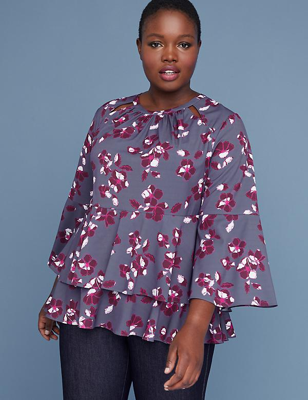 Printed Tiered-Hem Blouse