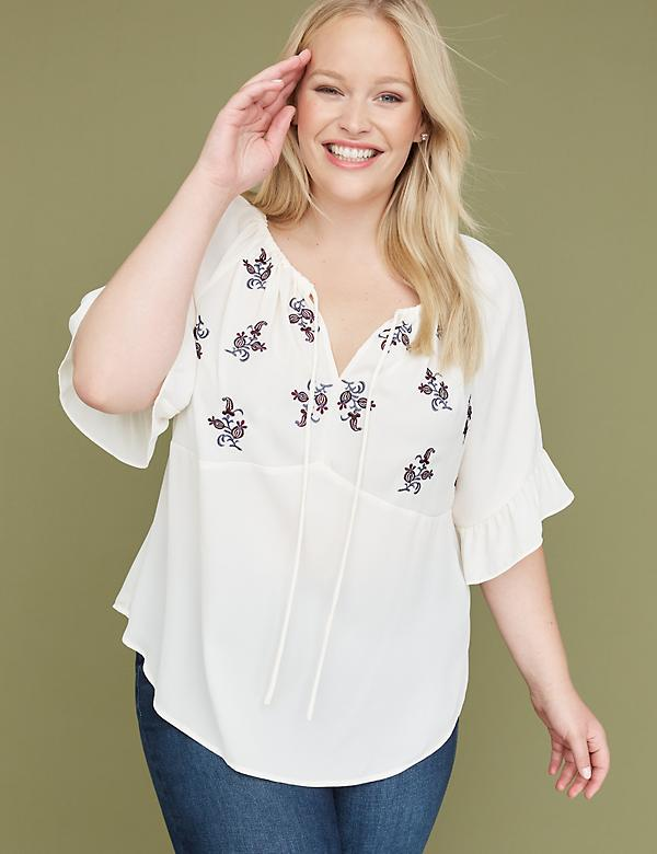 Embroidered Flounce-Sleeve Top