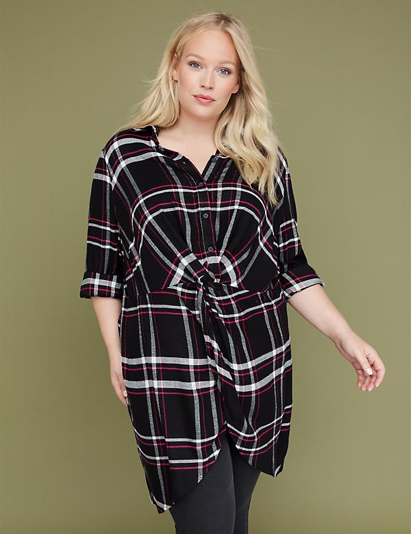 Plaid Twist-Front Tunic