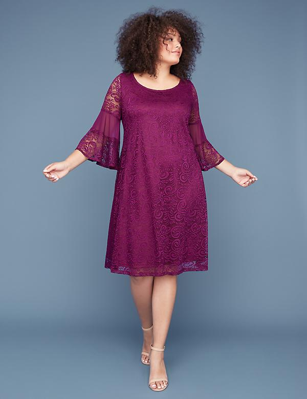 3/4 Bell-Sleeve Lace & Mesh Swing Dress
