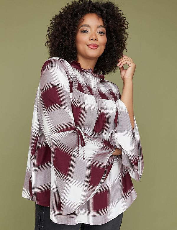 Plaid Smocked-Yoke Bell-Sleeve Top