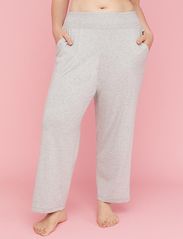 Ribbed-Waist Jersey Sleep Pant
