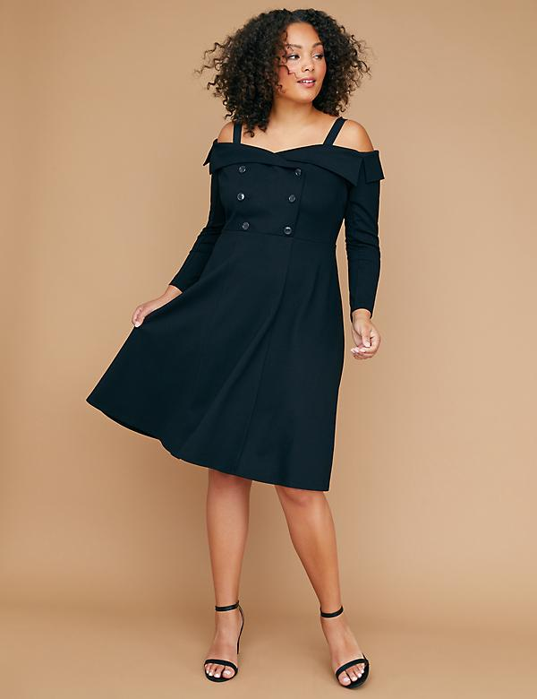 Ponte Off-the-Shoulder Lapel Fit & Flare Dress