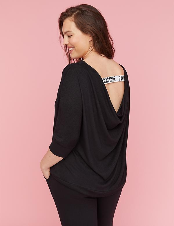 Cowl-Back Sleep Top with Logo Strap