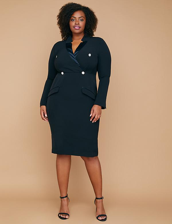Fast Lane Built-In Shaping Panels Tuxedo Sheath Dress